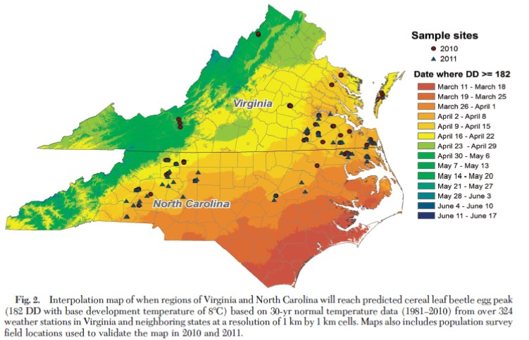 Map of North Carolina and Virginia showing average time when degree days exceed 182